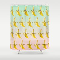lesbian Shower Curtains featuring Gay Pride Banana  by mailboxdisco
