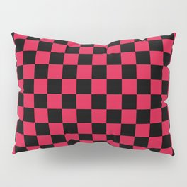 Black and Crimson Red Checkerboard Pillow Sham