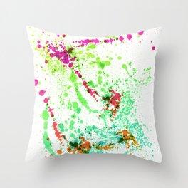 Screamin' Green - Abstract Splatter Style Throw Pillow