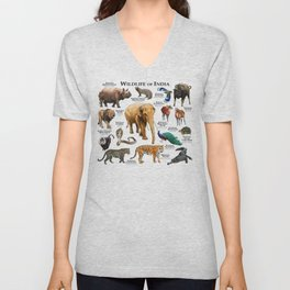 Wildlife of India Unisex V-Neck