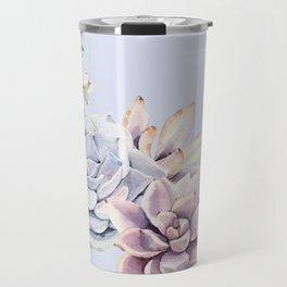 Pristine Blue Succulents Travel Mug