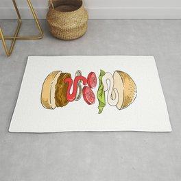 levitated burger Rug