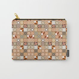 Oriental Tiles | Orange Pattern Carry-All Pouch