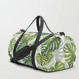 Tropical Monstera Leaf Pattern Duffle Bag