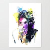tye dye Canvas Prints featuring Milla fashion portrait girl watercolor tye and dye face by Jessica Trouy