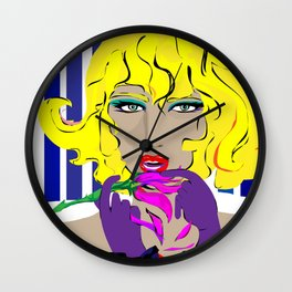 """""""Blonde Ambition"""" Paulette Lust's Original, Contemporary, Whimsical, Colorful Art  Wall Clock"""