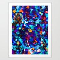 Abstract Watercolor (Blue) Art Print