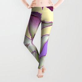 WHITE-MAROON CALLA LILIES PURPLE VIOLET ART DESIGN Leggings