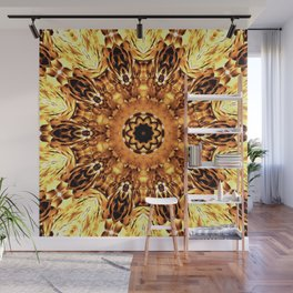 Yellow Brown Mandala Abstract Flower Wall Mural