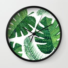 Monstera leaves and palm leaves Wall Clock