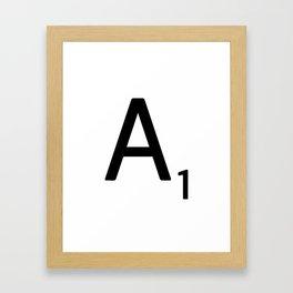 Letter A - Custom Scrabble Letter Wall Art - Scrabble A Framed Art Print