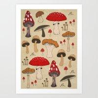 mushrooms Art Prints featuring Mushrooms by Lynette Sherrard Illustration and Design
