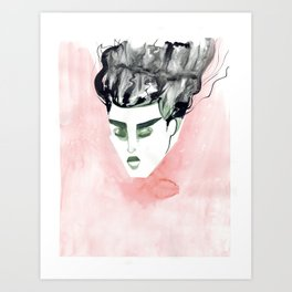 Windy Falling Head Art Print