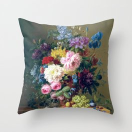 Arnoldus Bloemers - Flowers with Fruit and a Bird's Nest on a Marble Ledge Throw Pillow