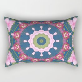 Flower-Mandala, blue pink, Spring blossoms Rectangular Pillow