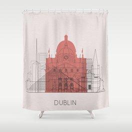 Dublin Landmarks Poster Shower Curtain
