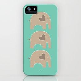 Turquoise Safari Elephant iPhone Case