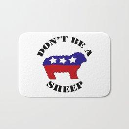 "Funny ""Don't Be a Sheep"" (USA) Political Sheep Bath Mat"