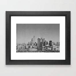 Black and White Philadelphia Skyline Framed Art Print