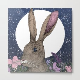 The Hare and the Moon  Metal Print