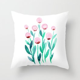 Simple watercolor flowers - pink and green Throw Pillow