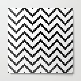 Tribal Chevron W&B Metal Print
