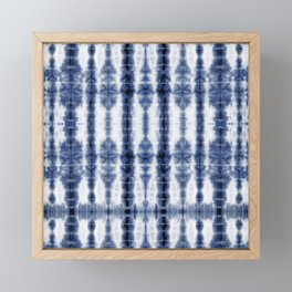 Tiki Shibori Blue Framed Mini Art Print