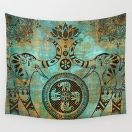 Elephants Lotus Flower Distressed Mandala Design Wall Tapestry