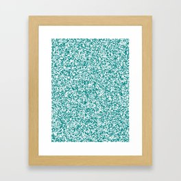 Tiny Spots - White and Dark Cyan Framed Art Print