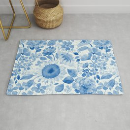 Denim Blue Monochrome Retro Floral Rug