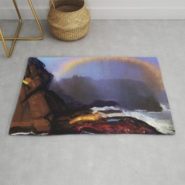 Early Morning Coastal Fog & Rainbow landscape painting by George Wesley Bellows Rug
