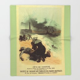 Vintage French drowned sailors charity advertising Throw Blanket