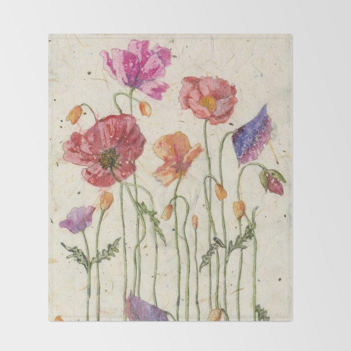 Watercolor Poppy Painting Poppy Batik Watercolor Batik Poppy Watercolor Wall Art Floral Art Throw Blanket By Carolerobb Society6