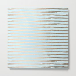 Abstract Stripes Gold Tropical Ocean Sea Turquoise Metal Print