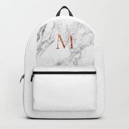 Monogram rose gold marble M Backpack