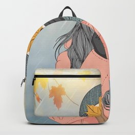Autumn and the beautiful woman with her long pink coat, Wall Art Girl Holding Leaves in Autumn Backpack
