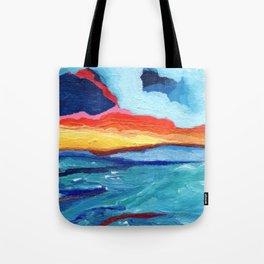 Coming Waves At Sunset Tote Bag