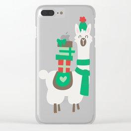 Christmas llama Clear iPhone Case