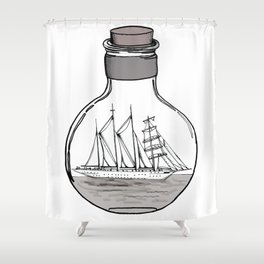 The Ship in the Bulb Shower Curtain