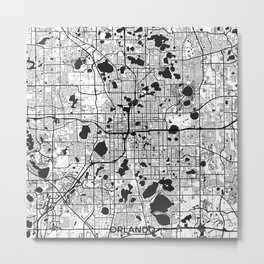 Orlando Map Gray Metal Print