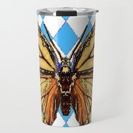 ABSTRACTED  BROWN SPICE  MONARCHS BUTTERFLY  &   BLUE-WHITE HARLEQUIN PATTERN Travel Mug