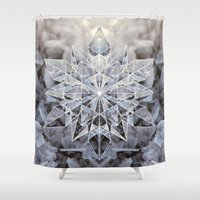snowflake Shower Curtains featuring Snowflake by Kristin Edoy Design