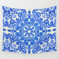 bedding Wall Tapestries featuring Cobalt Blue & China White Folk Art Pattern by micklyn