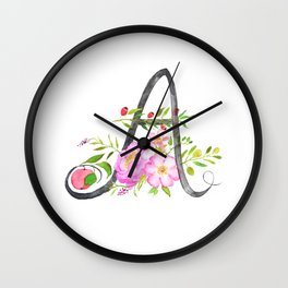Letter A calligraphy flower watercolor Wall Clock