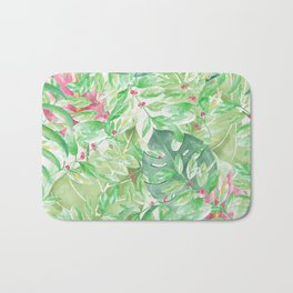 Hand painted watercolor green pink tropical leaves floral Bath Mat