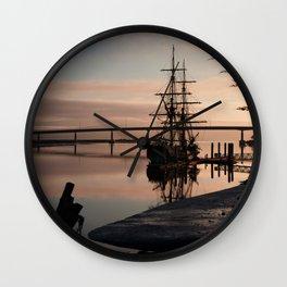Tall Ship at Sunrise Wall Clock