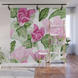 Pink flowers pattern Wall Mural