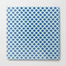 Blue Yellow Green Ikat Ogee Pattern Metal Print