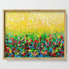 NATURE'S LIVING ROOM - Gorgeous Bright Bold Nature Wildflower Field Landscape Abstract Art New 2012 Serving Tray