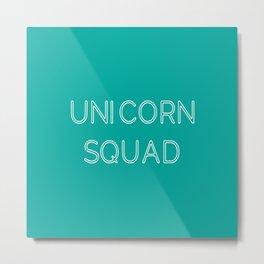 Unicorn Squad - Aqua Blue Green and White Metal Print